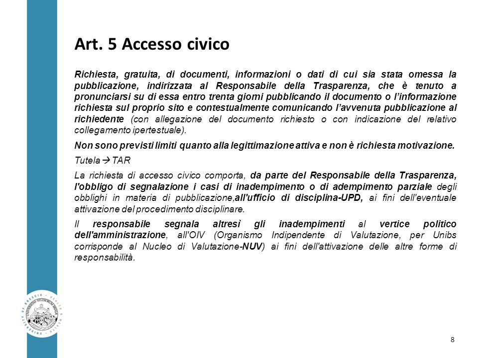 Art. 5 Accesso civico Richiesta, gratuita, di documenti, informazioni o dati di cui sia stata omessa la pubblicazione, indirizzata al Responsabile del
