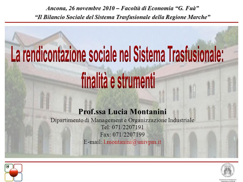 Prof.ssa Lucia Montanini Dipartimento di Management e Organizzazione Industriale Tel: 071/2207191 Fax: 071/2207199 E-mail: l.montanini@univpm.it Ancon