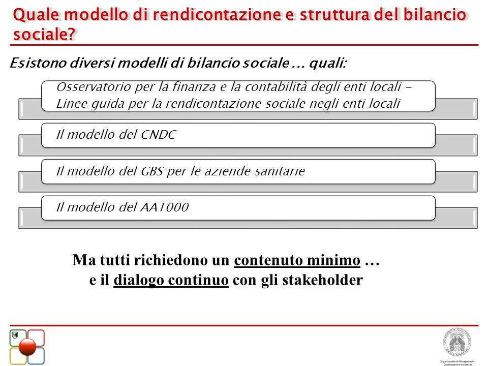 Quale modello di rendicontazione e struttura del bilancio sociale? Esistono diversi modelli di bilancio sociale... quali: Ma tutti richiedono un conte
