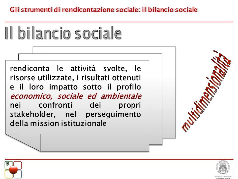 Gli strumenti di rendicontazione sociale: il bilancio sociale economico, sociale ed ambientale rendiconta le attività svolte, le risorse utilizzate, i