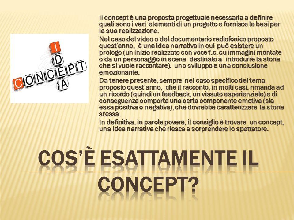 Il concept è una proposta progettuale necessaria a definire quali sono i vari elementi di un progetto e fornisce le basi per la sua realizzazione.
