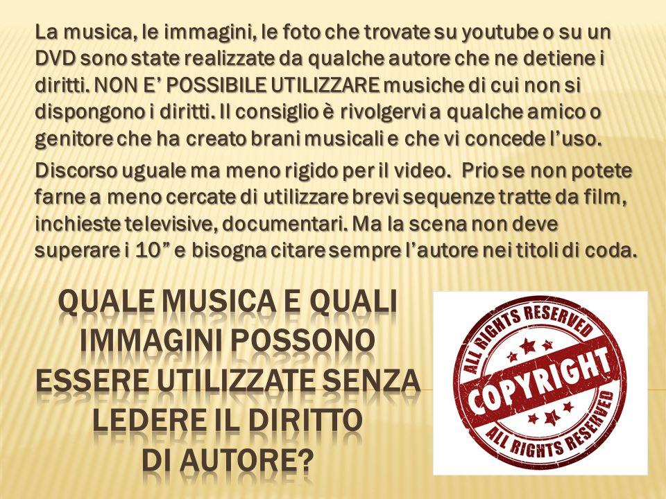 La musica, le immagini, le foto che trovate su youtube o su un DVD sono state realizzate da qualche autore che ne detiene i diritti.