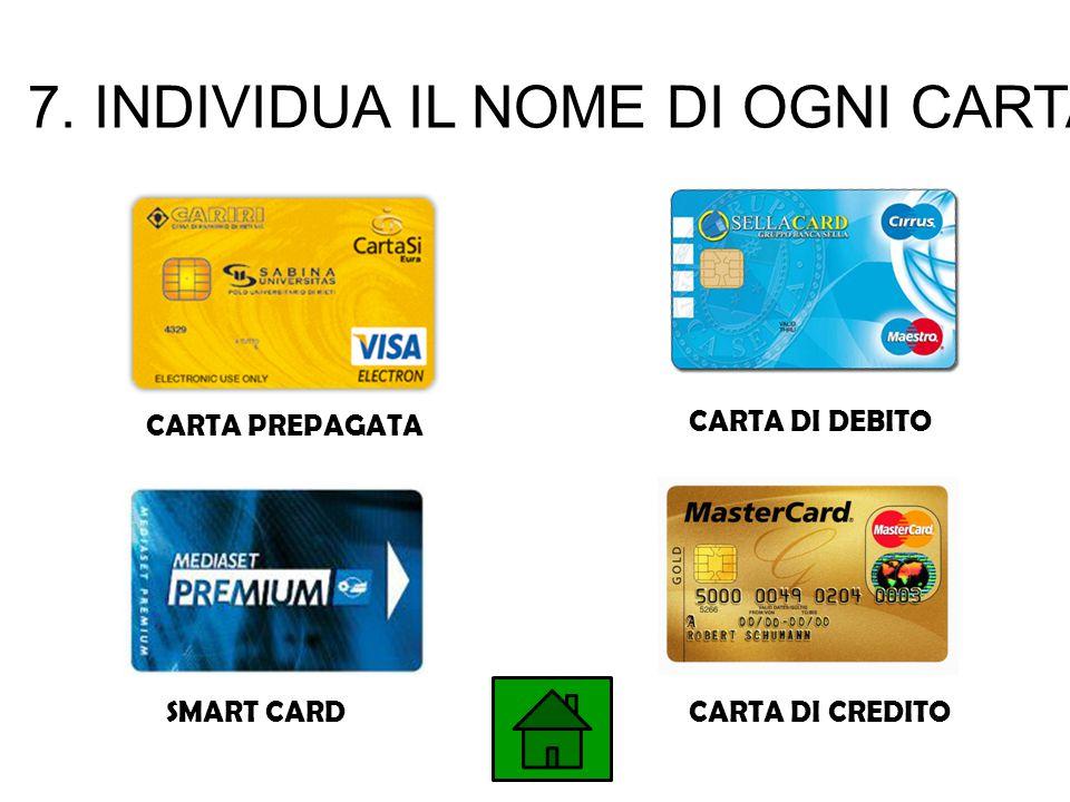 7. INDIVIDUA IL NOME DI OGNI CARTA CARTA PREPAGATA SMART CARD CARTA DI DEBITO CARTA DI CREDITO