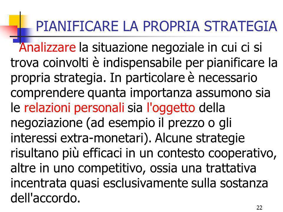 22 PIANIFICARE LA PROPRIA STRATEGIA Analizzare la situazione negoziale in cui ci si trova coinvolti è indispensabile per pianificare la propria strate