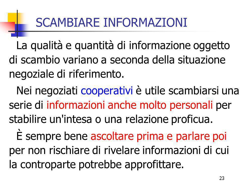 23 SCAMBIARE INFORMAZIONI La qualità e quantità di informazione oggetto di scambio variano a seconda della situazione negoziale di riferimento. Nei ne