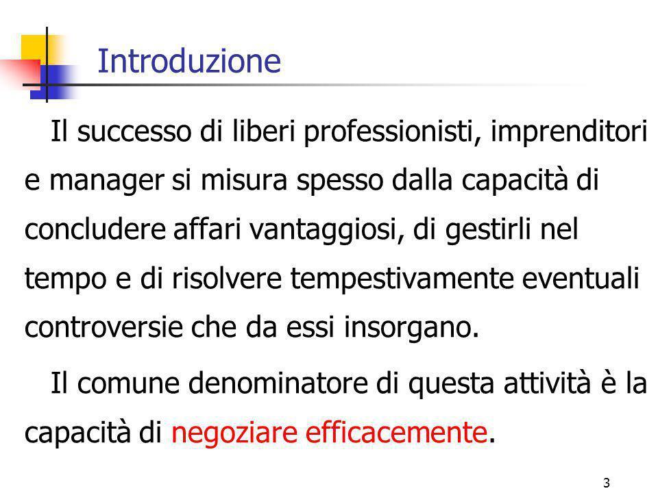 3 Introduzione Il successo di liberi professionisti, imprenditori e manager si misura spesso dalla capacità di concludere affari vantaggiosi, di gesti
