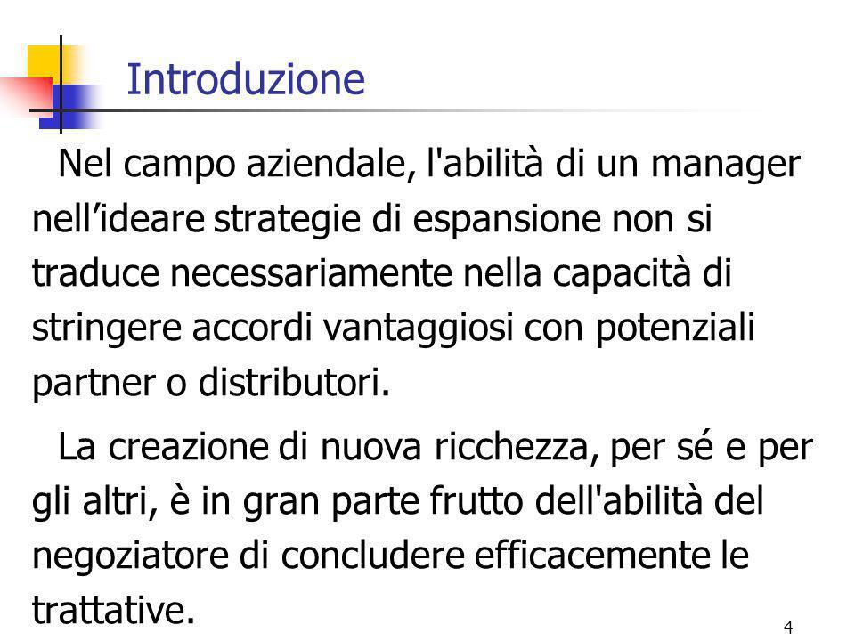 4 Introduzione Nel campo aziendale, l'abilità di un manager nell'ideare strategie di espansione non si traduce necessariamente nella capacità di strin