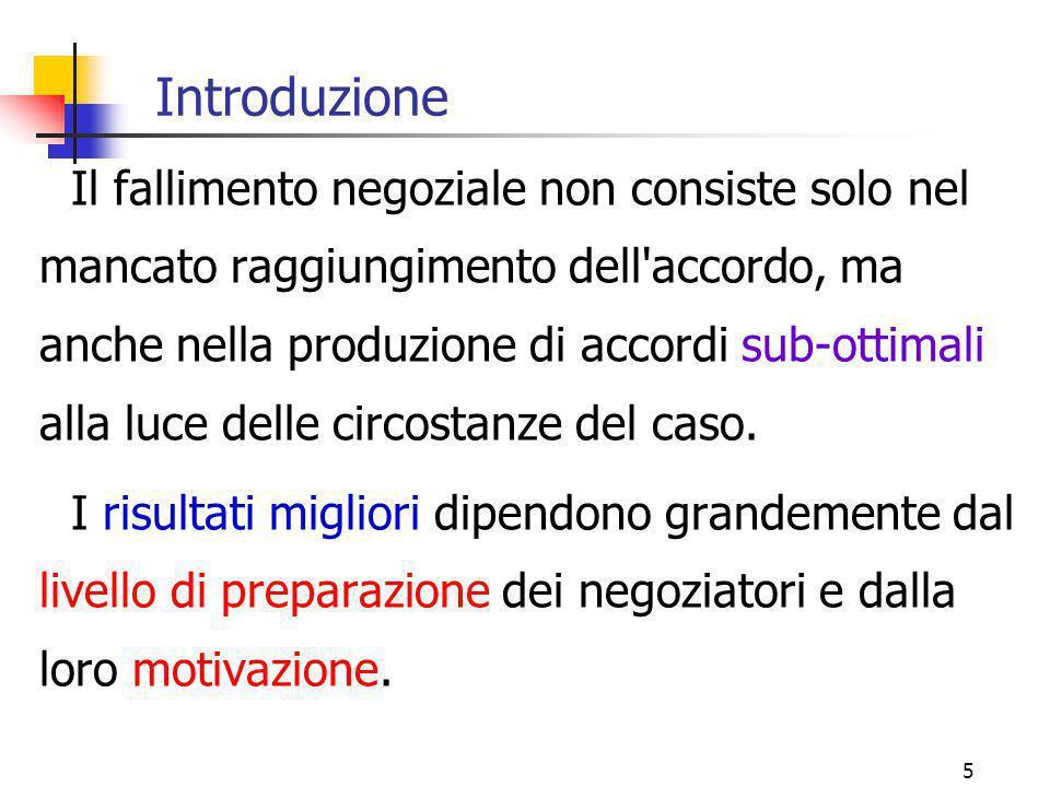 5 Introduzione Il fallimento negoziale non consiste solo nel mancato raggiungimento dell'accordo, ma anche nella produzione di accordi sub-ottimali al