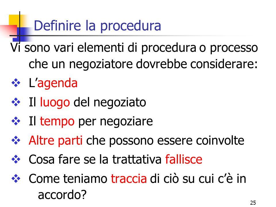 25 Definire la procedura Vi sono vari elementi di procedura o processo che un negoziatore dovrebbe considerare:  L'agenda  Il luogo del negoziato  Il tempo per negoziare  Altre parti che possono essere coinvolte  Cosa fare se la trattativa fallisce  Come teniamo traccia di ciò su cui c'è in accordo