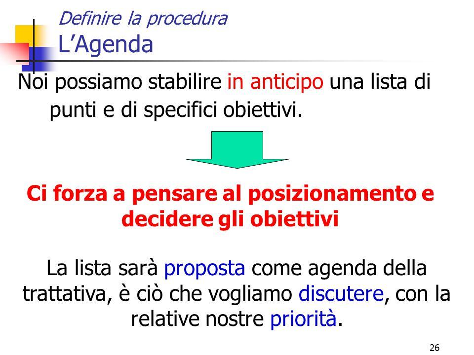 26 Definire la procedura L'Agenda Noi possiamo stabilire in anticipo una lista di punti e di specifici obiettivi.