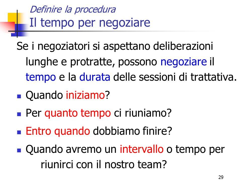 29 Definire la procedura Il tempo per negoziare Se i negoziatori si aspettano deliberazioni lunghe e protratte, possono negoziare il tempo e la durata delle sessioni di trattativa.