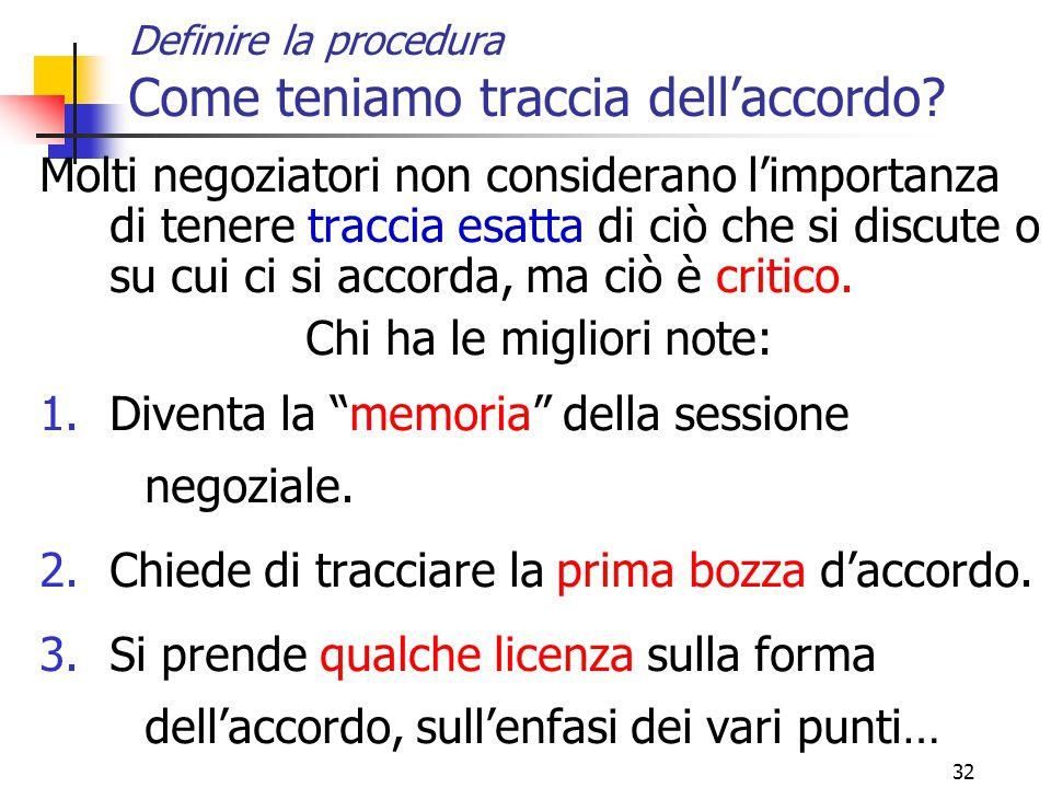 32 Definire la procedura Come teniamo traccia dell'accordo.