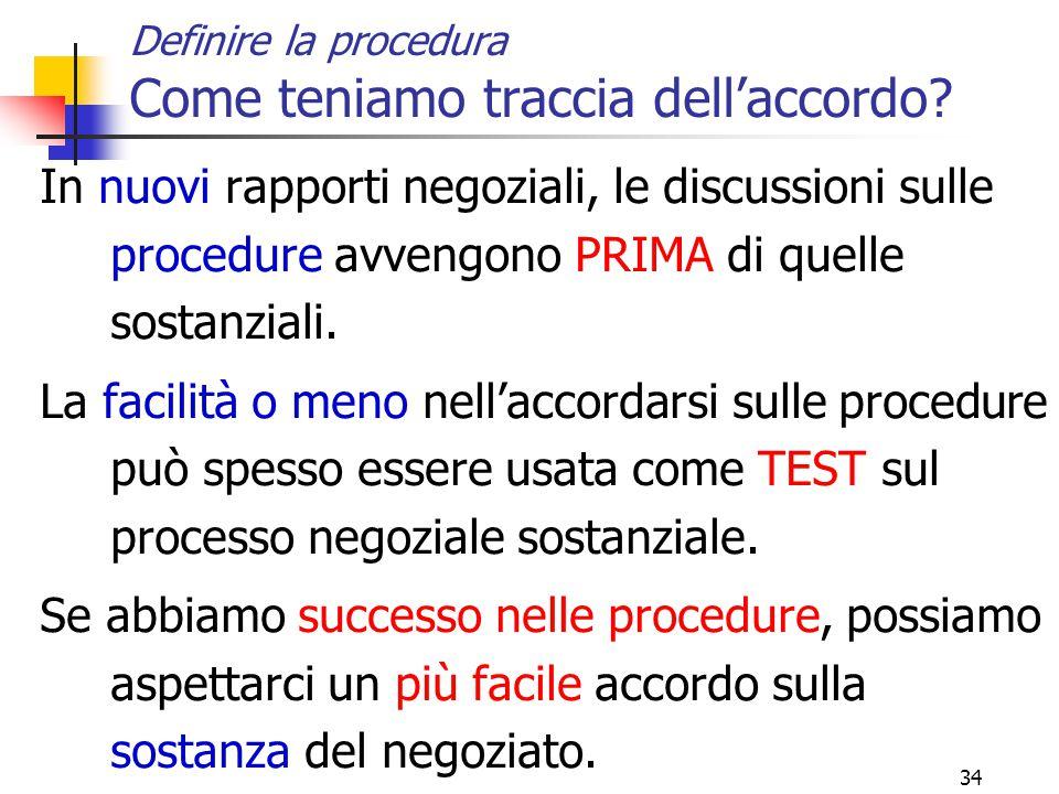 34 Definire la procedura Come teniamo traccia dell'accordo.