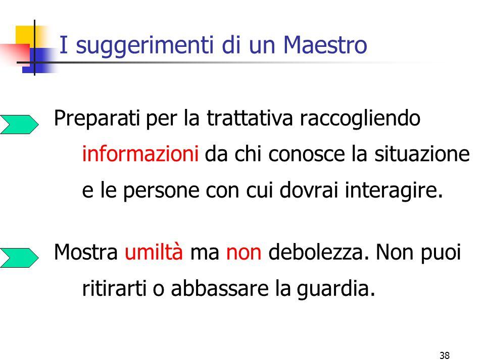 38 I suggerimenti di un Maestro Preparati per la trattativa raccogliendo informazioni da chi conosce la situazione e le persone con cui dovrai interagire.