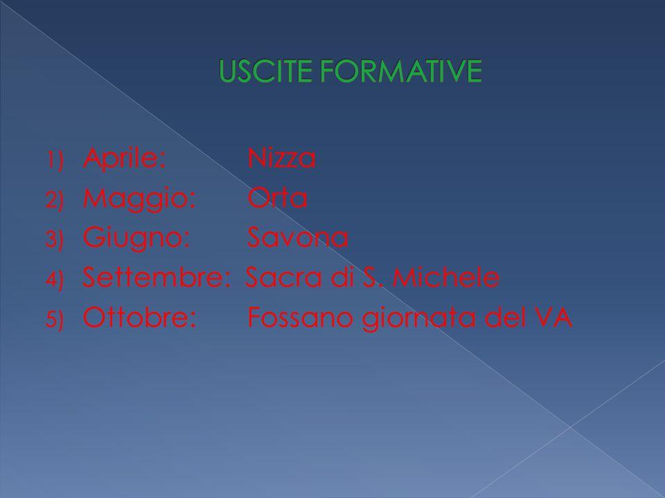 1) Aprile: Nizza 2) Maggio: Orta 3) Giugno: Savona 4) Settembre: Sacra di S.