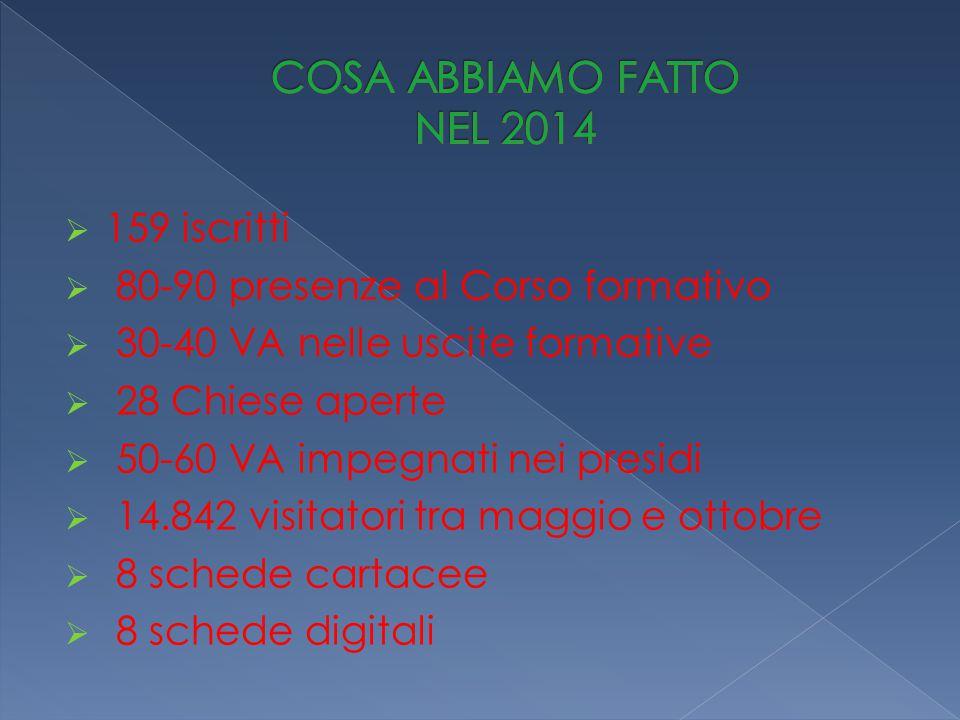  159 iscritti  80-90 presenze al Corso formativo  30-40 VA nelle uscite formative  28 Chiese aperte  50-60 VA impegnati nei presidi  14.842 visitatori tra maggio e ottobre  8 schede cartacee  8 schede digitali