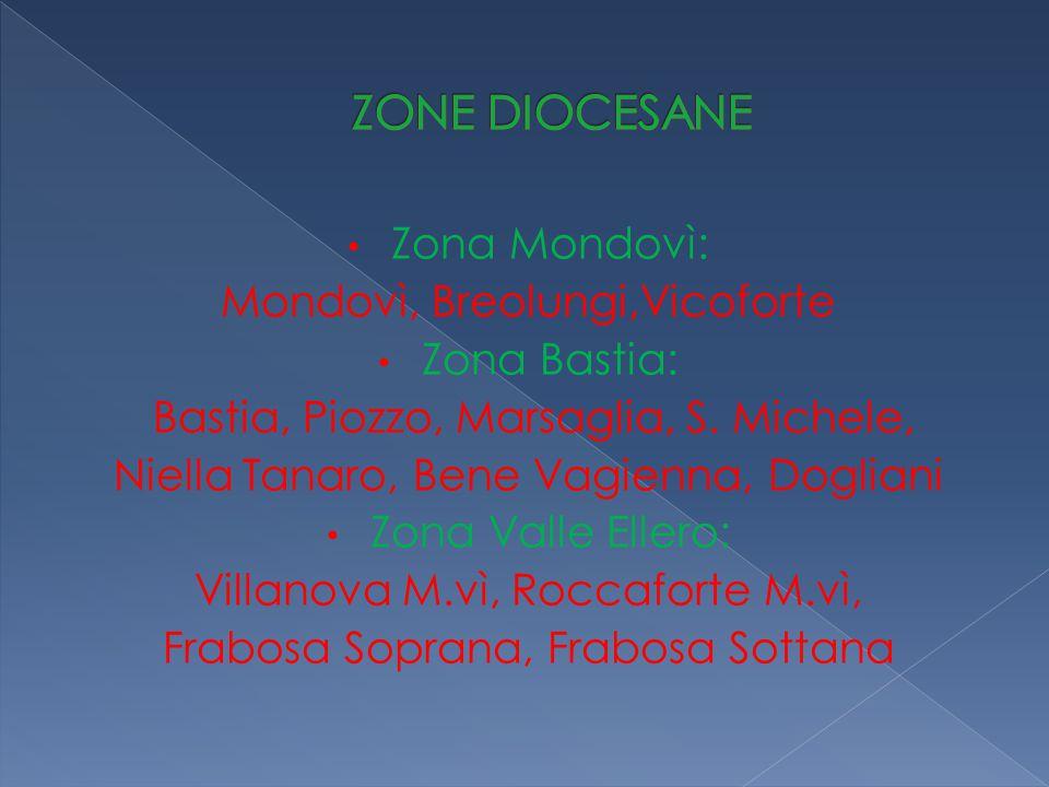 Zona Mondovì: Mondovì, Breolungi,Vicoforte Zona Bastia: Bastia, Piozzo, Marsaglia, S. Michele, Niella Tanaro, Bene Vagienna, Dogliani Zona Valle Eller