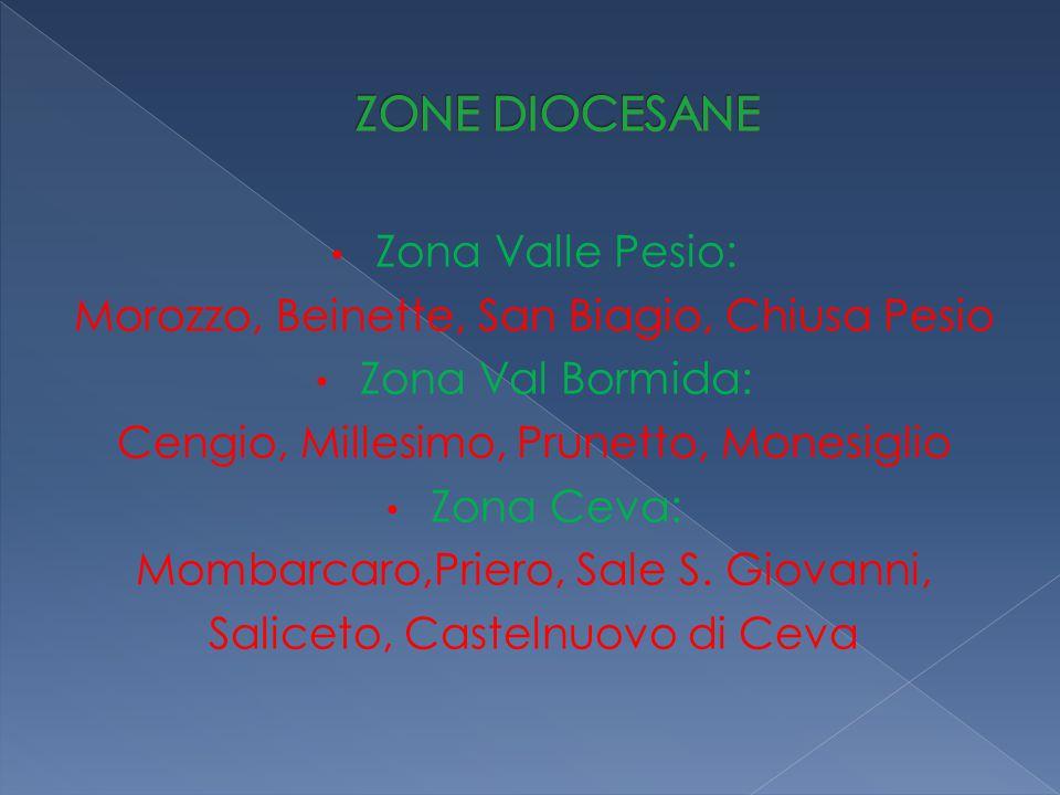Zona Valle Pesio: Morozzo, Beinette, San Biagio, Chiusa Pesio Zona Val Bormida: Cengio, Millesimo, Prunetto, Monesiglio Zona Ceva: Mombarcaro,Priero, Sale S.
