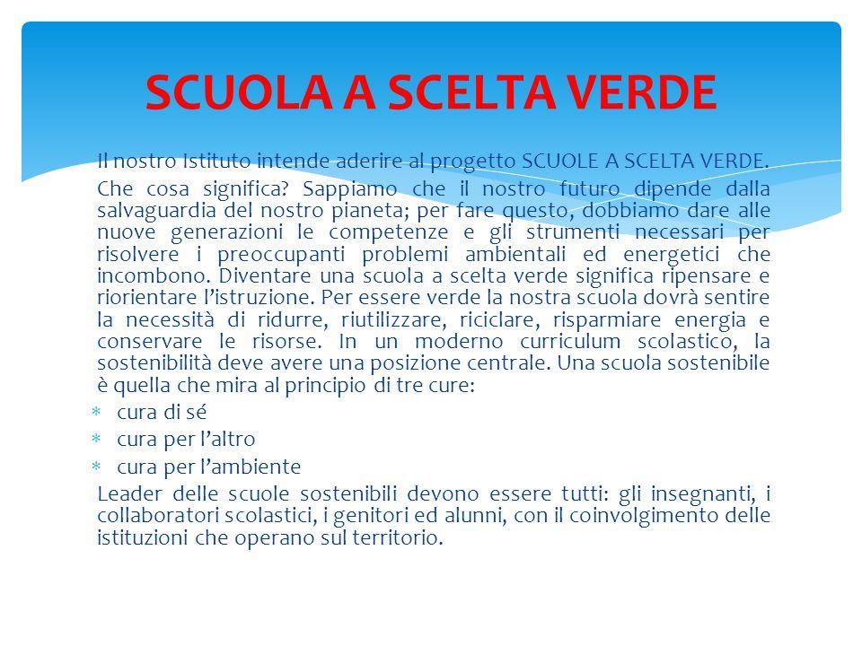 Il nostro Istituto intende aderire al progetto SCUOLE A SCELTA VERDE.