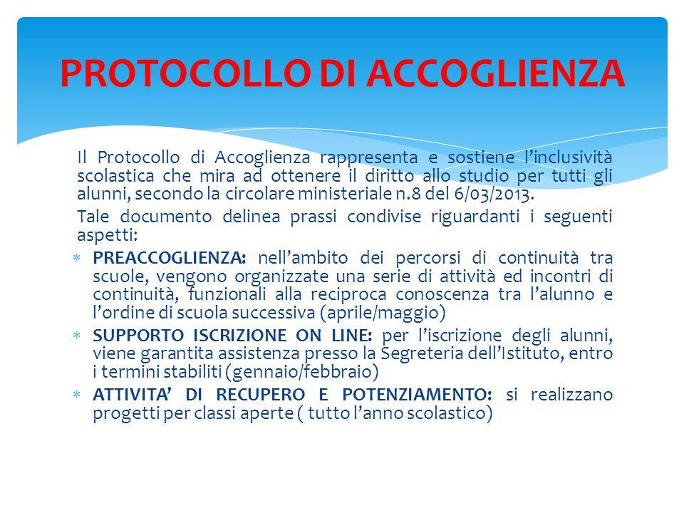 Il Protocollo di Accoglienza rappresenta e sostiene l'inclusività scolastica che mira ad ottenere il diritto allo studio per tutti gli alunni, secondo la circolare ministeriale n.8 del 6/03/2013.