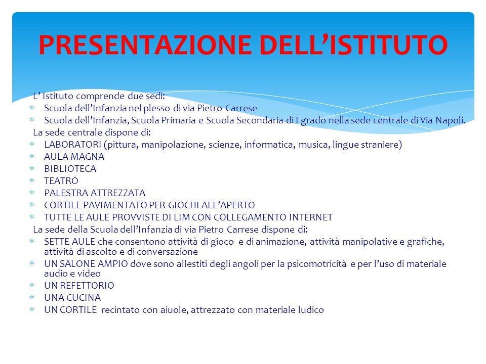 L' Istituto comprende due sedi:  Scuola dell'Infanzia nel plesso di via Pietro Carrese  Scuola dell'Infanzia, Scuola Primaria e Scuola Secondaria di I grado nella sede centrale di Via Napoli.
