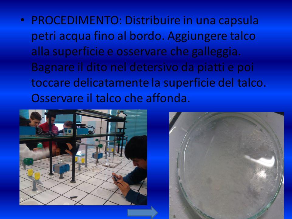 PROCEDIMENTO: Distribuire in una capsula petri acqua fino al bordo. Aggiungere talco alla superficie e osservare che galleggia. Bagnare il dito nel de