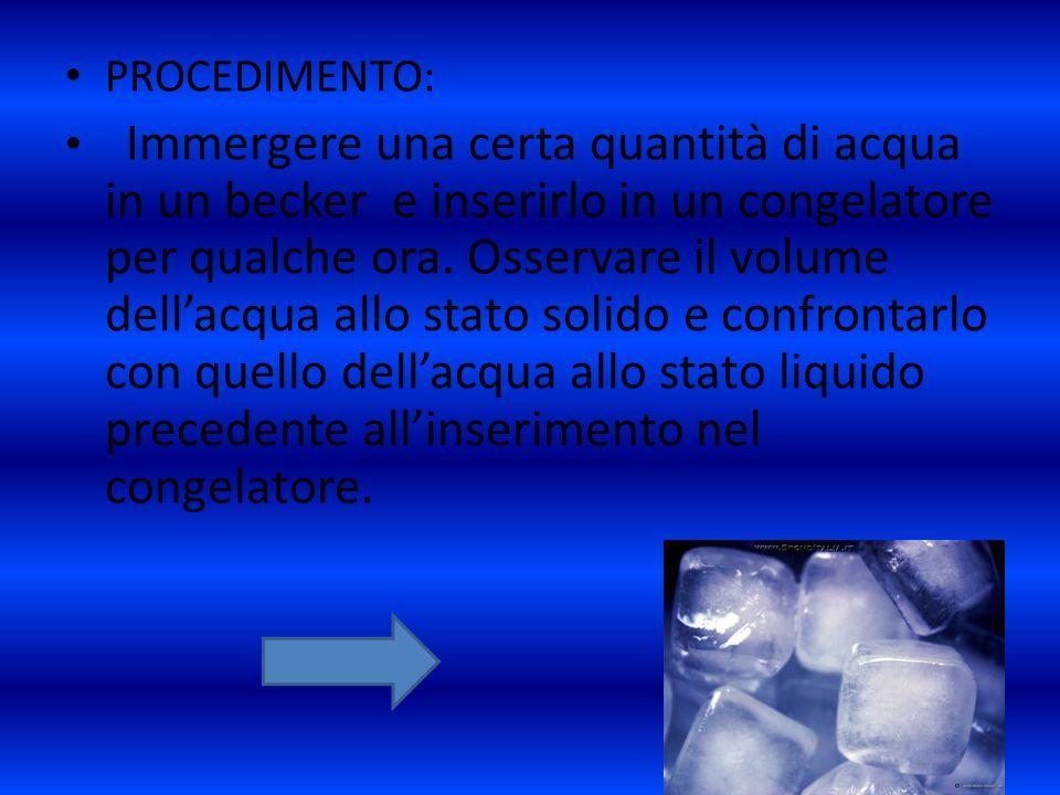 PROCEDIMENTO: Immergere una certa quantità di acqua in un becker e inserirlo in un congelatore per qualche ora. Osservare il volume dell'acqua allo st