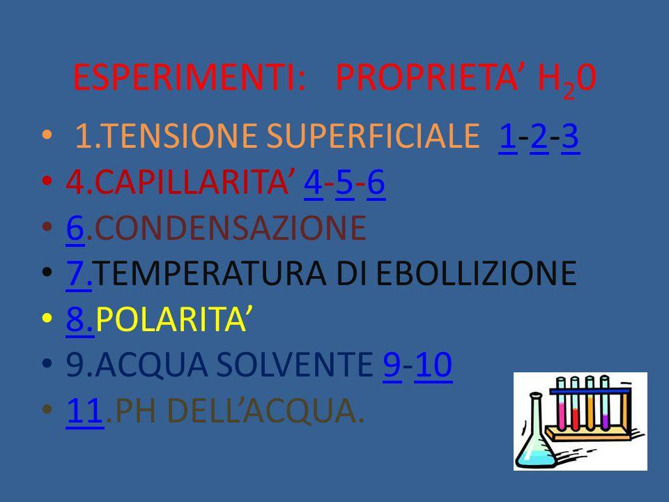 ESPERIMENTI: PROPRIETA' H 2 0 1.TENSIONE SUPERFICIALE 1-2-3123 4.CAPILLARITA' 4-5-6456 6.CONDENSAZIONE 6 7.TEMPERATURA DI EBOLLIZIONE 7. 8.POLARITA' 8