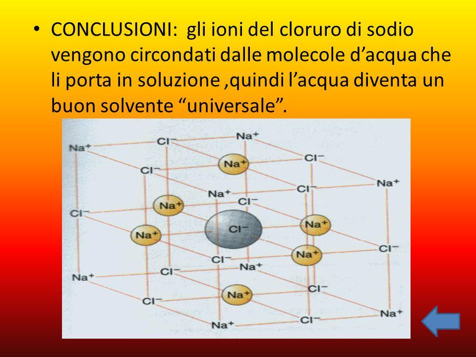 CONCLUSIONI: gli ioni del cloruro di sodio vengono circondati dalle molecole d'acqua che li porta in soluzione,quindi l'acqua diventa un buon solvente