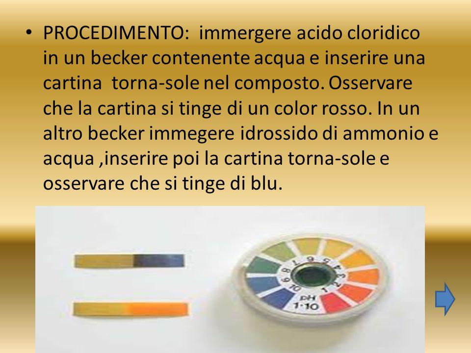 PROCEDIMENTO: immergere acido cloridico in un becker contenente acqua e inserire una cartina torna-sole nel composto. Osservare che la cartina si ting