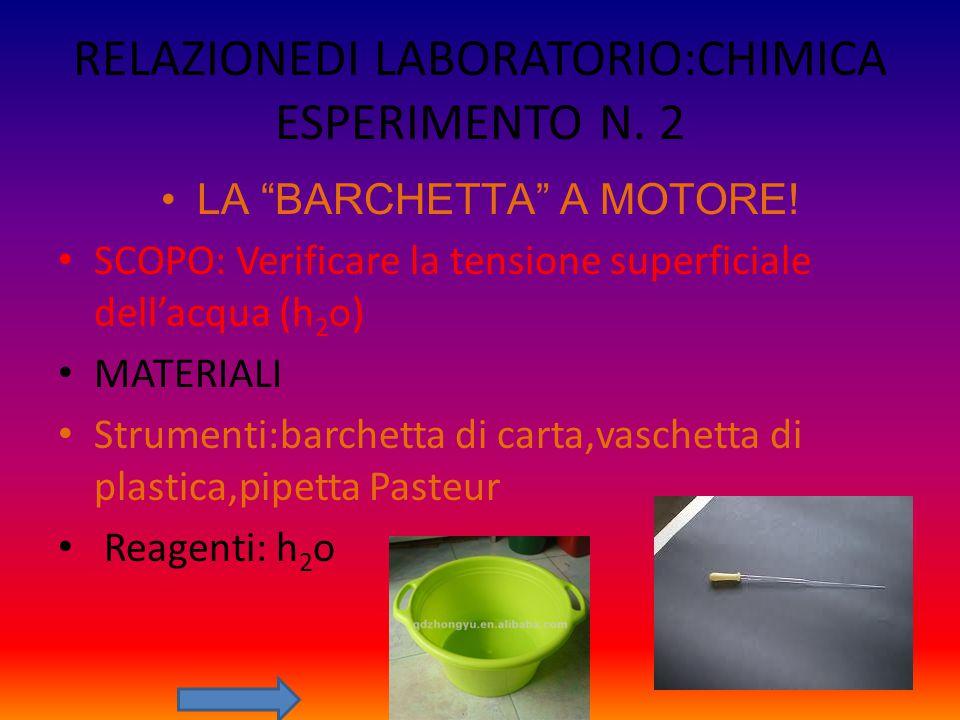 """RELAZIONEDI LABORATORIO:CHIMICA ESPERIMENTO N. 2 LA """"BARCHETTA"""" A MOTORE! SCOPO: Verificare la tensione superficiale dell'acqua (h 2 o) MATERIALI Stru"""