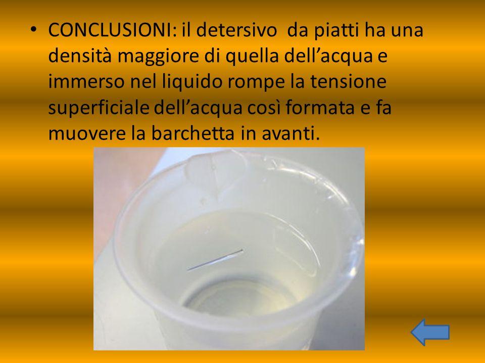 CONCLUSIONI: il detersivo da piatti ha una densità maggiore di quella dell'acqua e immerso nel liquido rompe la tensione superficiale dell'acqua così
