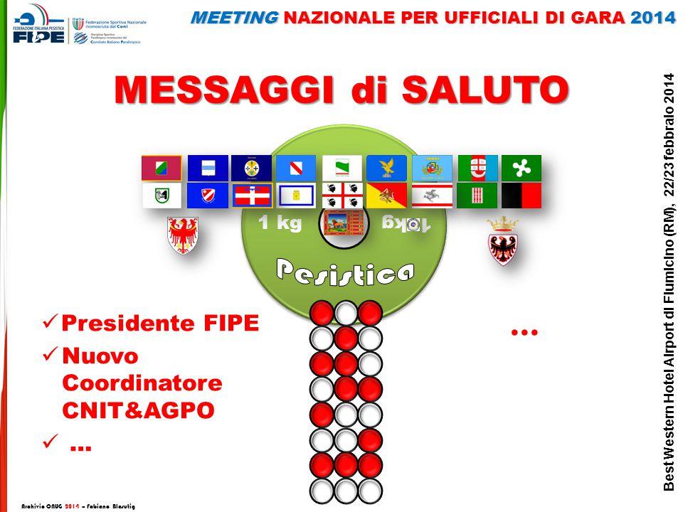 MESSAGGI di SALUTO Archivio CNUG 2014 – Fabiano Blasutig Presidente FIPE Nuovo Coordinatore CNIT&AGPO … … MEETING NAZIONALE PER UFFICIALI DI GARA 2014