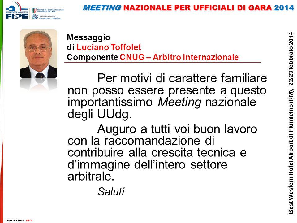 Messaggio di Luciano Toffolet Componente CNUG – Arbitro Internazionale Per motivi di carattere familiare non posso essere presente a questo importantissimo Meeting nazionale degli UUdg.