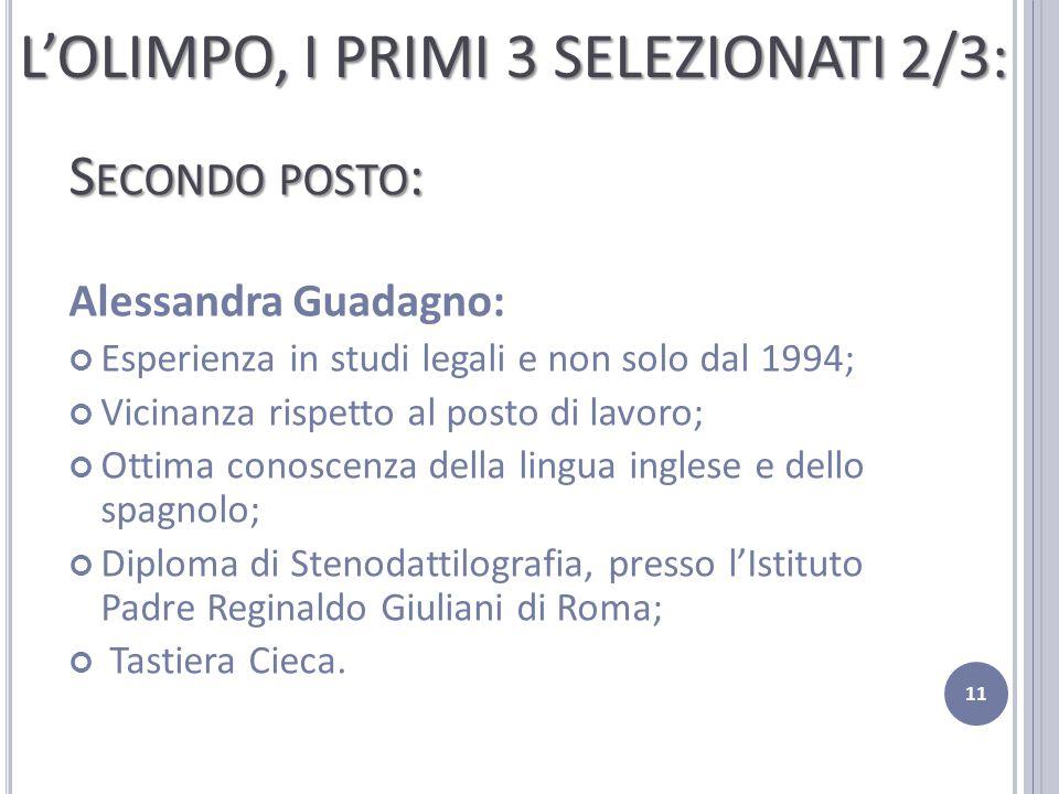 S ECONDO POSTO : Alessandra Guadagno: Esperienza in studi legali e non solo dal 1994; Vicinanza rispetto al posto di lavoro; Ottima conoscenza della l