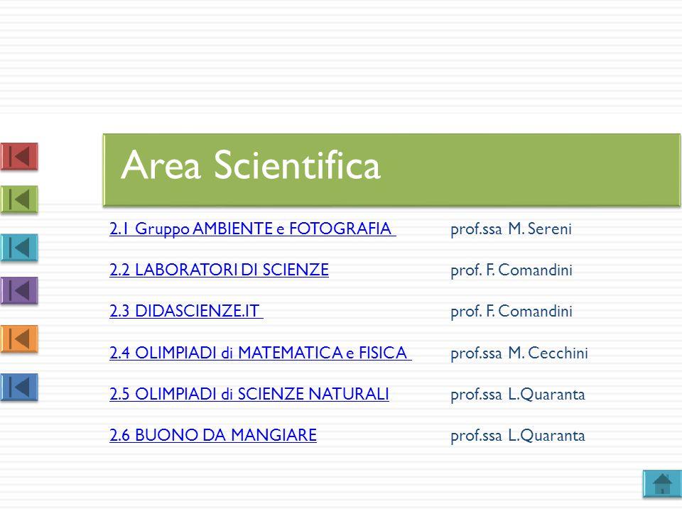 2.1 Gruppo AMBIENTE e FOTOGRAFIA 2.1 Gruppo AMBIENTE e FOTOGRAFIA prof.ssa M. Sereni 2.2 LABORATORI DI SCIENZE2.2 LABORATORI DI SCIENZEprof. F. Comand
