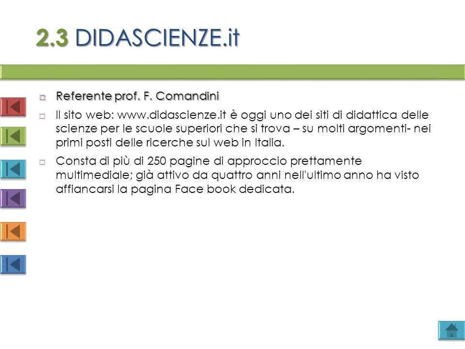2.3 DIDASCIENZE.it  Referente prof. F. Comandini  Il sito web: www.didascienze.it è oggi uno dei siti di didattica delle scienze per le scuole super