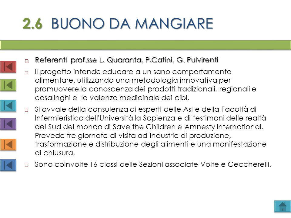 2.6 BUONO DA MANGIARE  ReferentI prof.sse L. Quaranta, P.Catini, G. Pulvirenti  Il progetto intende educare a un sano comportamento alimentare, util