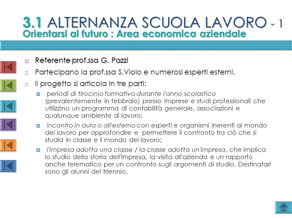 3.1 ALTERNANZA SCUOLA LAVORO - 1  Referente prof.ssa G. Pazzi  Partecipano la prof.ssa S.Violo e numerosi esperti esterni.  Il progetto si articola