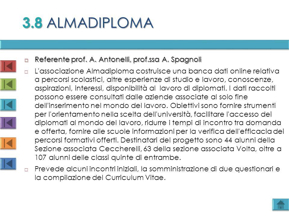  Referente prof. A. Antonelli, prof.ssa A. Spagnoli  L'associazione Almadiploma costruisce una banca dati online relativa a percorsi scolastici, alt