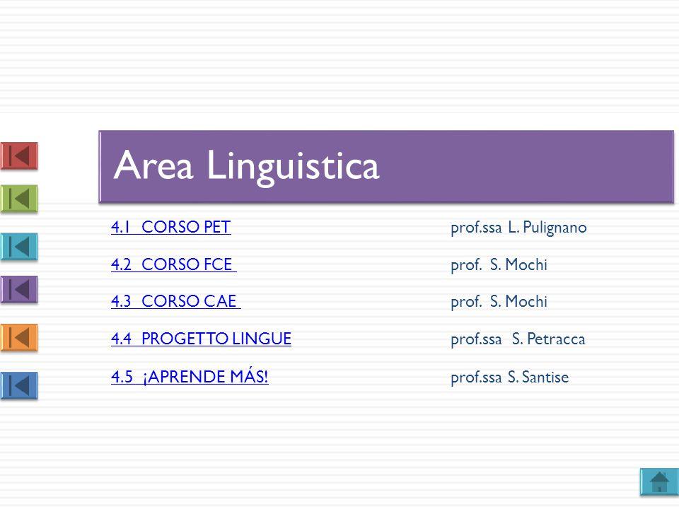 4.1 CORSO PET4.1 CORSO PET prof.ssa L. Pulignano 4.2 CORSO FCE 4.2 CORSO FCE prof. S. Mochi 4.3 CORSO CAE 4.3 CORSO CAE prof. S. Mochi 4.4 PROGETTO LI