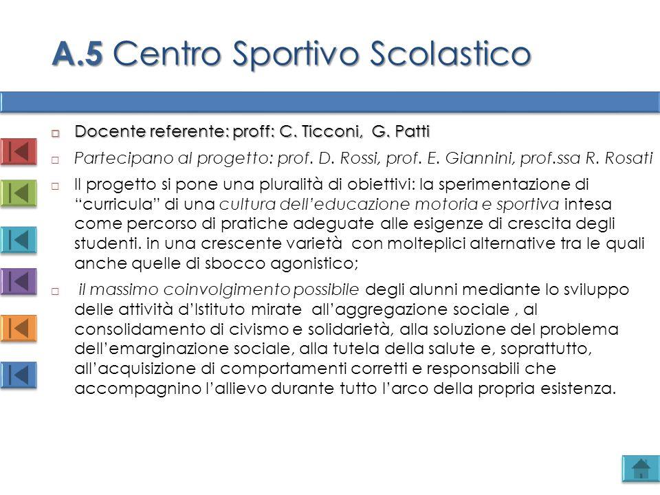  Docente referente: proff: C. Ticconi, G. Patti  Partecipano al progetto: prof. D. Rossi, prof. E. Giannini, prof.ssa R. Rosati  Il progetto si pon