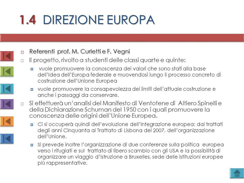 1.4 DIREZIONE EUROPA  Referenti prof. M. Curletti e F. Vegni  Il progetto, rivolto a studenti delle classi quarte e quinte:  vuole promuovere la co