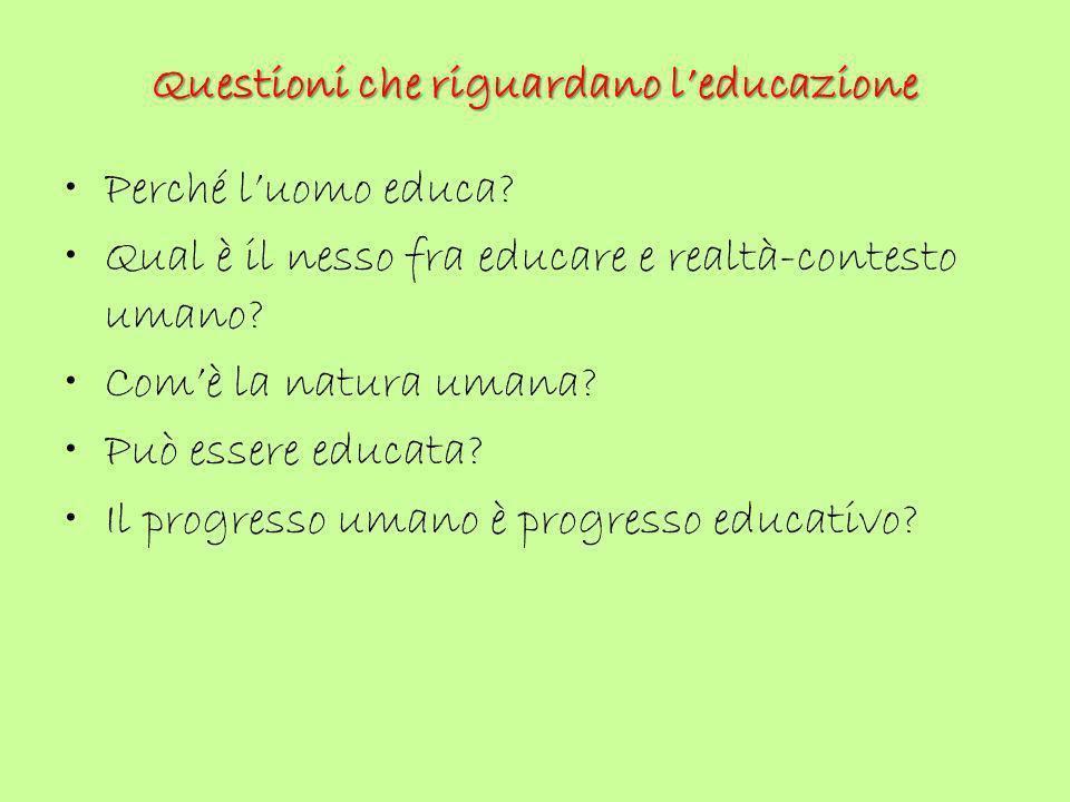 Questioni che riguardano l'educazione Perché l'uomo educa? Qual è il nesso fra educare e realtà-contesto umano? Com'è la natura umana? Può essere educ