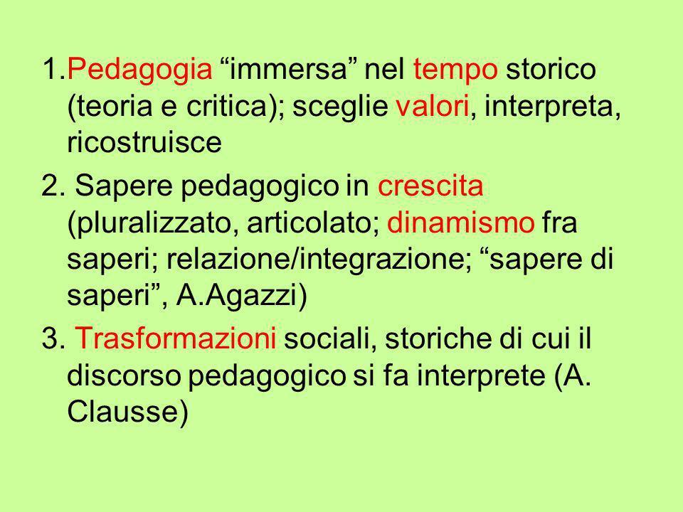 """1.Pedagogia """"immersa"""" nel tempo storico (teoria e critica); sceglie valori, interpreta, ricostruisce 2. Sapere pedagogico in crescita (pluralizzato, a"""