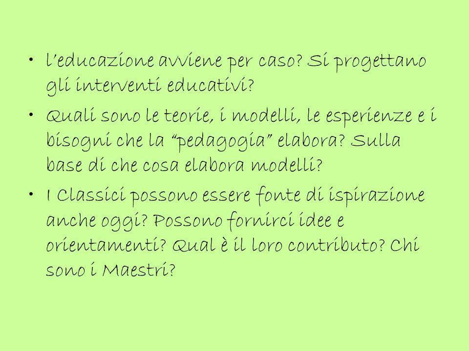 Esperienza del FATTO EDUCATIVO (madre) Conoscenza del PROBLEMA educativo (educatore) Conoscenza pedagogica = scientifica delle condizioni di educabilità (ricercatore) (N.