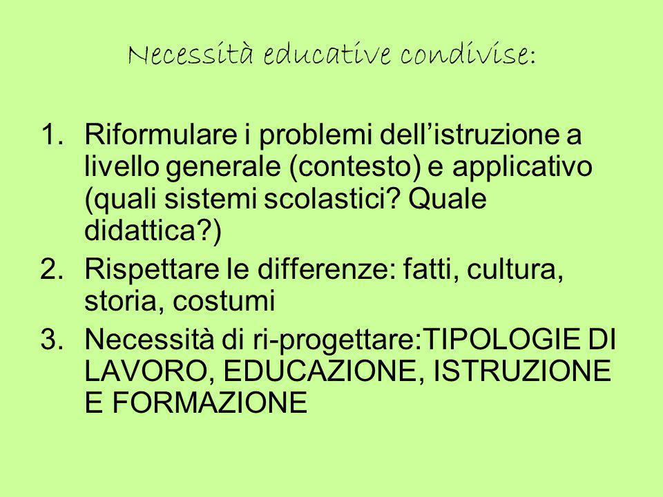 Necessità educative condivise: 1.Riformulare i problemi dell'istruzione a livello generale (contesto) e applicativo (quali sistemi scolastici? Quale d