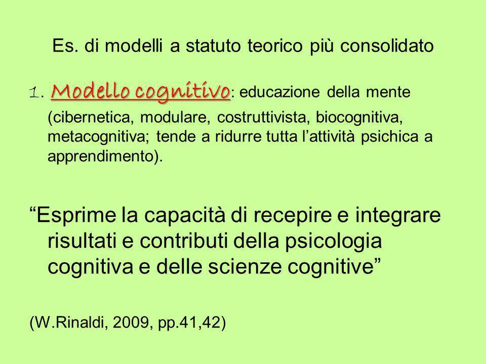 Es. di modelli a statuto teorico più consolidato Modello cognitivo 1. Modello cognitivo : educazione della mente (cibernetica, modulare, costruttivist