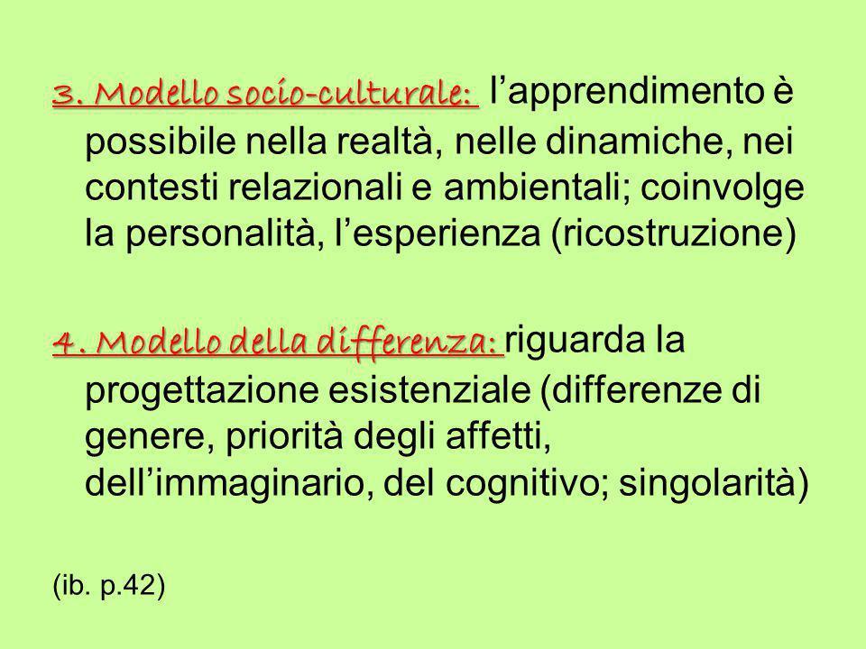 3. Modello socio-culturale: 3. Modello socio-culturale: l'apprendimento è possibile nella realtà, nelle dinamiche, nei contesti relazionali e ambienta