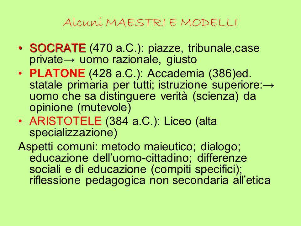 Alcuni MAESTRI E MODELLI SOCRATESOCRATE (470 a.C.): piazze, tribunale,case private→ uomo razionale, giusto PLATONE (428 a.C.): Accademia (386)ed. stat